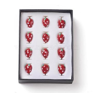 Strawberry Handmade Lampwork Beads, Red, 16x11mm, Hole: 2mm(LAMP-F006-03)