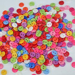 Плоские круглые 2-отверстие кнопки, Пуговицы из cмолы, разноцветные, диаметром около 9 мм , отверстие : 1 мм(X-FNA1494)