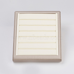 PU Leather Jewelry Ring Displays, with Board, Rectangle, OldLace, 25x22x5cm(RDIS-G006-02A)