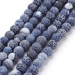 Natural Crackle Agate Beads Strands, Dyed, Round, Grade A, Black, 6mm, Hole: 1mm; about 63pcs/strand, 15.5