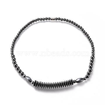 Non-magnetic Synthetic Hematite Necklaces, with Brass Magnetic Clasps, 20.08 inches(51cm)(NJEW-M182-01)