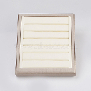 PU Leather Jewelry Ring Displays, with Board, Rectangle, Old Lace, 25x22x5cm(RDIS-G006-02A)