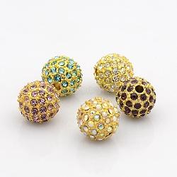 Or grade alliage de tonalité un strass perles, rond, couleur mixte, 11~12mm, Trou: 2mm(RB-J298-12mm-G)