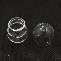 Perles de globe en verre soufflé faites à la main, la moitié foré, dôme en verre, rond, clair, 20x18mm, Trou: 10mm(X-BLOW-X025-1)