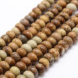 """Chapelets de perles en jaspe avec images naturelles, rondelle, 8x5mm, trou: 1mm; environ 75 pcs/chapelet, 14.9""""~15.1""""(G-G734-01-5x8mm)"""