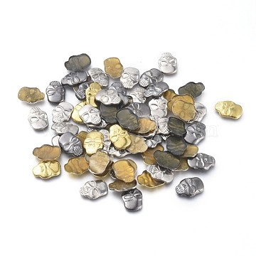 Brass Cabochons, Skull Head, Lead Free & Cadmium Free, Mixed Color, 11x8x1.7mm; about 750pcs/100g(KK-XCP0001-08M-RS)