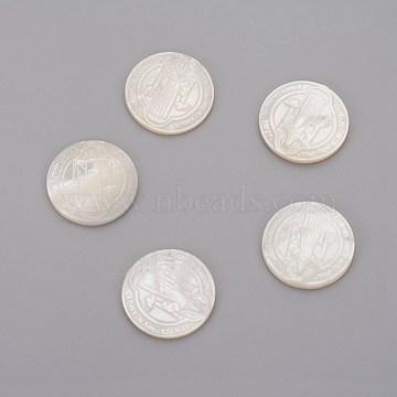 Natural White Shell Mother of Pearl Shell Cabochons, For Easter, Flat Round with Jesus, 21.5x2mm(SHEL-P071-07A)