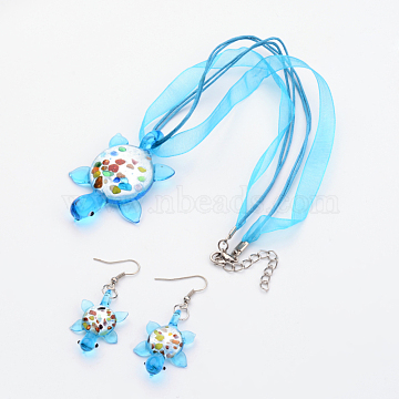 Handmade Silver Foil Glass Jewelry Set, with Gold Sand, Necklace and Earring, Turtle, Cyan, Size: about 40mm wide, 55mm long(X-FOIL-C587-2)