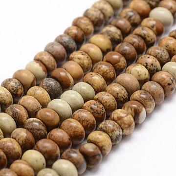 8mm Wheat Abacus Picture Jasper Beads