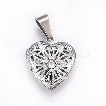 304 Stainless Steel Diffuser Locket Pendants, with Rhinestone, Heart, Crystal, Stainless Steel Color, 22.5x19x6mm, Hole: 9x5mm, Inner Size: 14x11mm(STAS-O103-37P)