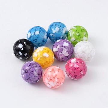 22mm Mixed Color Round Resin Beads