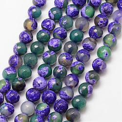 Natural Fire Agate Bead Strands, Round, Grade A, Faceted, Dyed & Heated, Mauve, 6mm, Hole: 1mm; about 61pcs/strand, 15inches