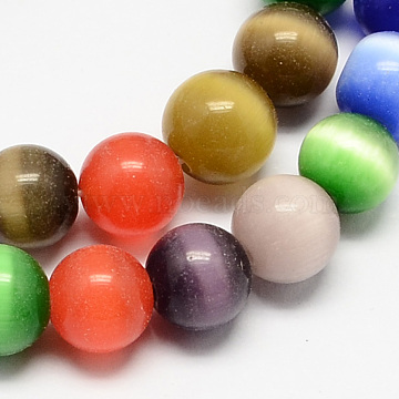 Cat Eye Beads Strands, Round, Mixed Color, 12mm, Hole: 1.5mm; about 33pcs/strand, 14.5inches(CE-R002-12mm-M)