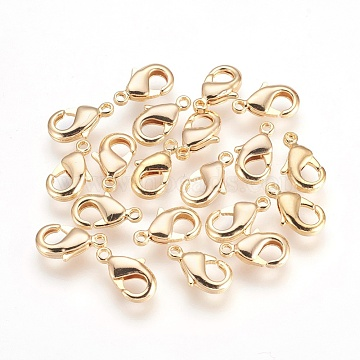 Brass Lobster Claw Clasps, Nickel Free, Real 18K Gold Plated, 12x7x2.5mm, Hole: 1mm(X-KK-S314-42G)