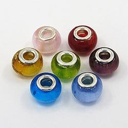 Perles européennes main, feuille d'argent verre, ame en laiton de couleur argent, rondelle, couleur mixte, environ 14 mm de large, Longueur 11mm, Trou: 5mm(X-PDL010J)