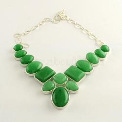Natural Malaysia Jade Gemstone Bib Statement Necklaces with Alloy Cabochon Settings and Silver Color Plated Brass Chains, 19.3inches(NJEW-R224-02E-B)