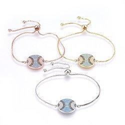 """Bracelets réglables en laiton à micro-pavé de zircons cubiques, Bracelets coulissants, plat rond, colorées, couleur mixte, 10-1/4"""" (26cm); 1.2mm(BJEW-H583-08)"""