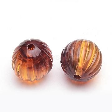 Acrylic Corrugated Beads, Imitation Amber, Round, Dark Orange, 13.5mm, Hole: 2mm(X-OACR-S015-01)