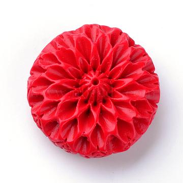 Cinnabar Beads, Flower, Red, 40x41.5x15mm, Hole: 2mm(X-CARL-S004-04)