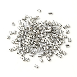 2MM Platinum Plated Tube Crimp Beads, Cadmium Free & Lead Free, Brass Beads, about 2mm wide, 2mm long, hole: 1.5mm, about 900pcs/10g(X-E003)