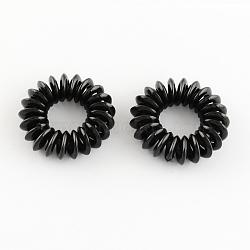Cordon téléphonique élastiques cravates de cheveux, plastique, noir, 15mm(OHAR-R116-08)