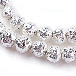 """Chapelets de perles en lave naturelle électrolytique, rond, cahoteuse, Plaqué Argent, 6~7mm, trou: 1mm; environ 66 pcs/chapelet, 15.35"""" (39 cm)(G-K259-57-6mm-S)"""
