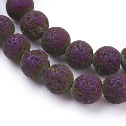 placage sous vide électrolytique brins de perles de lave naturelle, arrondir, pourpre plaqué, 8~8.5 mm, trou: 1 mm; environ 48 perle / brin, 15.35 (39 cm)(G-K259-58-8mm-06)