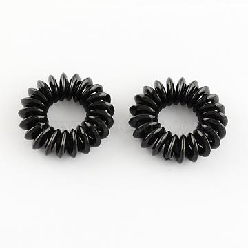 Telephone Cord Elastic Hair Ties, Ponytail Holder, Plastic, Black, 15mm(OHAR-R116-08)