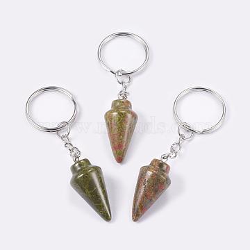 porte-clés unakite naturel, avec les principaux anneaux de fer, platine, 78 mm, pendentif: 32x14 mm(KEYC-P041-A01)