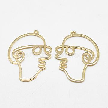 Brass Pendants, Face, Real 18K Gold Plated, 35x26x1mm, Hole: 1mm(X-KK-S347-116)