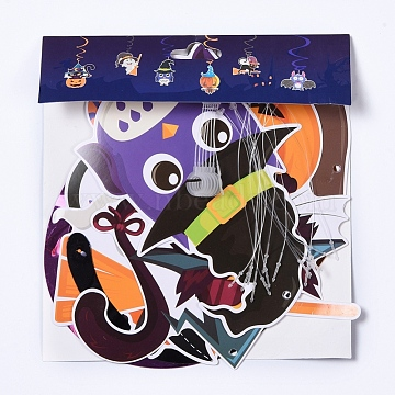 Halloween Decorations, Indoor Hanging Swirls, for Haunted House Decor Ceiling Swirl Decoration, Mixed Color, 16.5x17.8x1cm(DIY-E029-03)