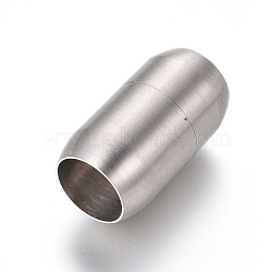 304 Stainless Steel Magnetic Clasps, Matte, Column, Stainless Steel Color, 25x14mm, Hole: 10.5mm