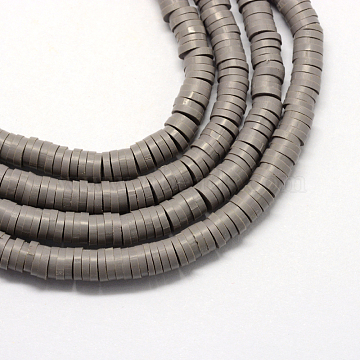 Eco-Friendly Handmade Polymer Clay Beads, Disc/Flat Round, Heishi Beads, Slate Gray, 4x1mm, Hole: 1mm, about 380~400pcs/strand, 17.7 inches(X-CLAY-R067-4.0mm-41)
