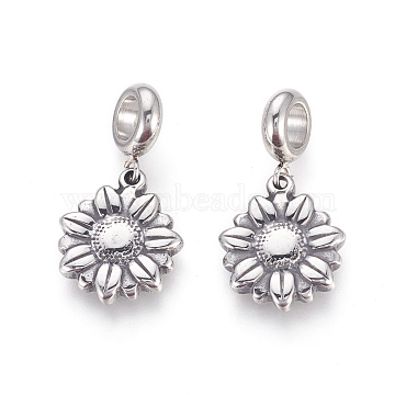 304 Stainless Steel European Dangle Beads, Large Hole Pendants, Daisy, Antique Silver, 28.5mm, Hole: 5mm; Pendant: 17.5x15x3mm(STAS-F195-134AS)