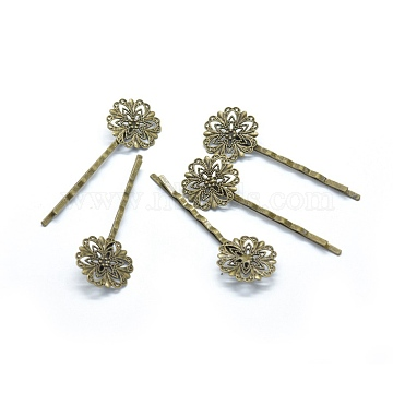 Iron Hair Bobby Pin Findings, with Brass Filigree Flower Cabochon Bezel Settings, Nickel Free, Antique Bronze, 62.5x2mm(X-IFIN-L032-05AB-NF)