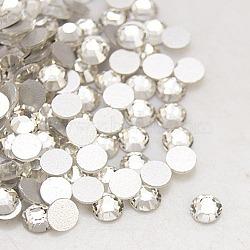 Strass arrière en verre plat pour vêtements, Grade a, dos plaqué, facette, demi-rond, cristal, 3~3.2mm(X-RGLA-C002-SS12-001)