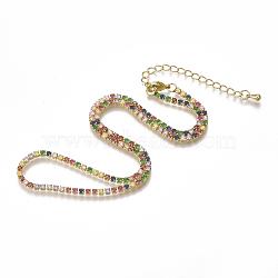 """Colliers de chaîne en laiton avec zircone cubique (couleur mélangée au hasard), or, 14.3"""" (36.5 cm)(NJEW-S418-01)"""