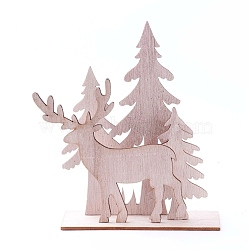 Undyed Platane Wood Home Display Decorations, Christmas Tree with Christmas Reindeer/Stag, BurlyWood, 153.5x42.5x146.5mm, 4pcs/set(DJEW-F006-04)