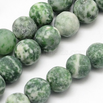 Natural Green Spot Jasper Round Bead Strands, Frosted, Round, 8mm, Hole: 1mm; about 48pcs/strand, 15.1inches(X-G-D678-8mm)