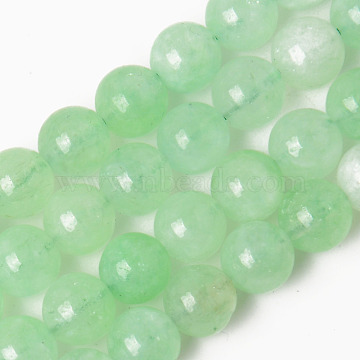 Natural Chalcedony Beads Strands, Dyed & Heated, Imitation Green Quartz, Round, Light Green, 8~8.5mm, Hole: 1.2mm, about 48pcs/strand, 15.35 inches(39cm)(X-G-R479-8mm-05)