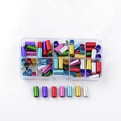 Aluminum Wire Hair Coil Cuffs, Dread Cuff Coil, Mixed Color, 15~16x8mm, Hole: 7mm; about 90pcs/box(ALUM-R008-01-B)