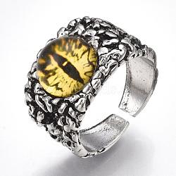 Bagues en alliage de verre, anneaux large bande, oeil de dragon, argent antique, jaune, taille 10, 20mm(RJEW-T006-01D)