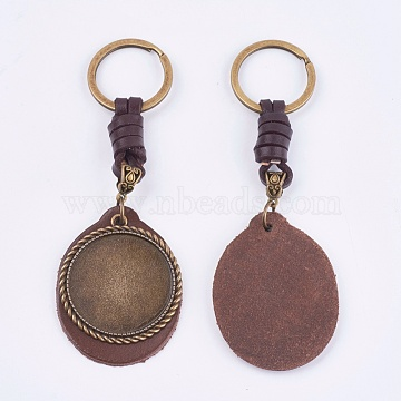 Alloy Cabochon Settings, Cadmium Free & Lead Free Keychain, with Cowhide Pendants and Iron Rings, Flat Round, Antique Bronze, Tray: 35mm; 122mm(KEYC-T003-28)
