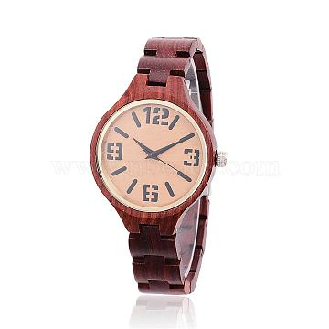 Ebony Wood Wristwatches, Women Electronic Watch, with Alloy Findings, CoconutBrown, 65mm; Watch Head: 47x37x11mm; Watch face: 37mm(WACH-H037-16)