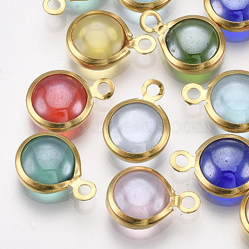 Handmade Lampwork Charms, with 304 Stainless Steel Findings, Flat Round, Golden, Mixed Color, 9.5x6.5x2.5~3mm, Hole: 1.5mm(X-STAS-T045-16A-G)