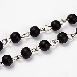 transparent dépoli perles de verre chaînes pour colliers bracelets faire, avec épingle à oeil en fer platine, non soudée, noir, 39.3(AJEW-JB00103-06)