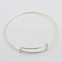 Регулируемые железные браслеты материалы, платина, 71 мм(X-MAK-N020-01P)