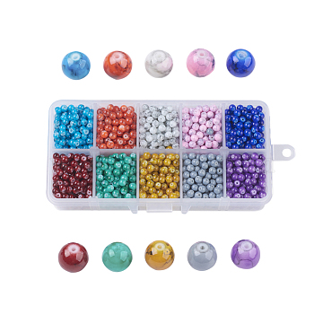 Drawbench Glass Beads, Round, Mixed Color, 4~5x4mm, Hole: 1mm, about 215~220pcs/compartment, 2150~2200pcs/box, packaging box: 13.5x7x3cm(GLAD-JP0001-03-4mm)