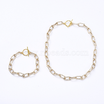Aluminum Textured Paperclip Chain Bracelets & Necklaces Jewelry Sets, with Alloy Toggle Clasps, Light Gold, 7-1/4 inches(18.5cm), 16.33 inches(41.5cm)(SJEW-JS01094-01)