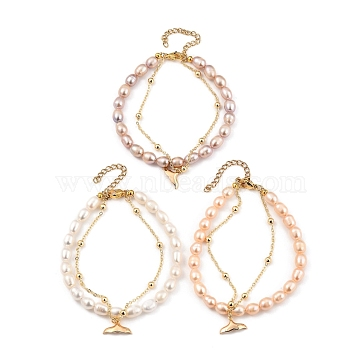 Multi-Strand Bracelets Sets, Stackable Bracelets, with Natural Pearl Beads, 304 Stainless Steel Lobster Claw Clasps, Brass Whale Tail Shape Charms & Cable Chains, Golden, Mixed Color, 19cm(7-1/2 inches), 3pcs/set(BJEW-JB05369)